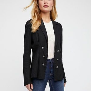 Free People Cinched Waist Linen Blazer Military